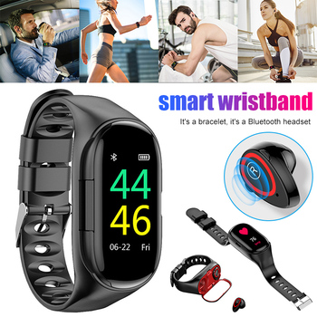 2-in-1 Smart Watch with Earbuds Bluetooth Headphone Wristband Portable for Sport FKU66
