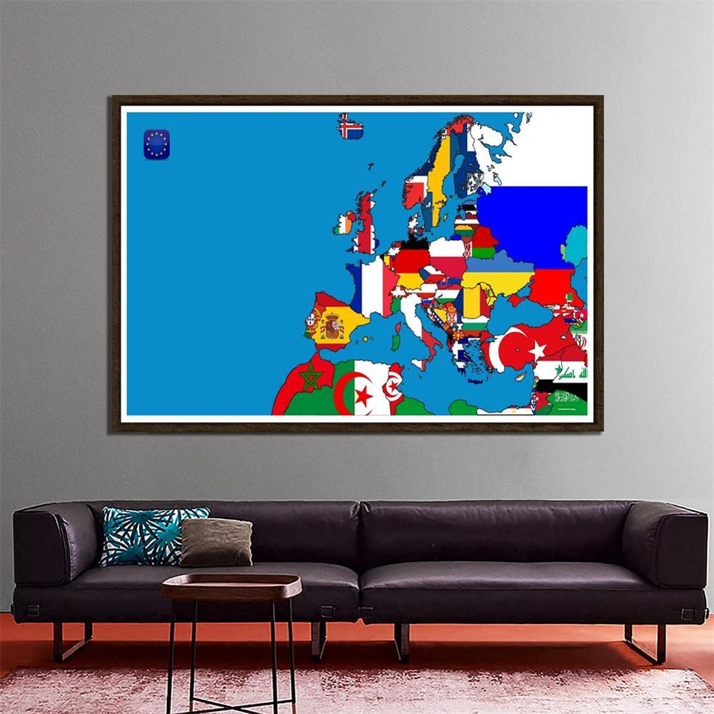 DIY European Map Office Home Wall Decor Map 150x100cm Non-woven Waterproof Photography Background Photo Studio Backdrop Props