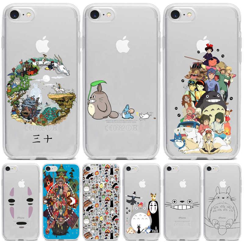 Cute Totoro Spirited Away Ghibli Miyazaki Anime No Face Soft Clear Phone Case For iPhone 11 12 Pro 7 8 Plus 6 5 XS XR Max Coque