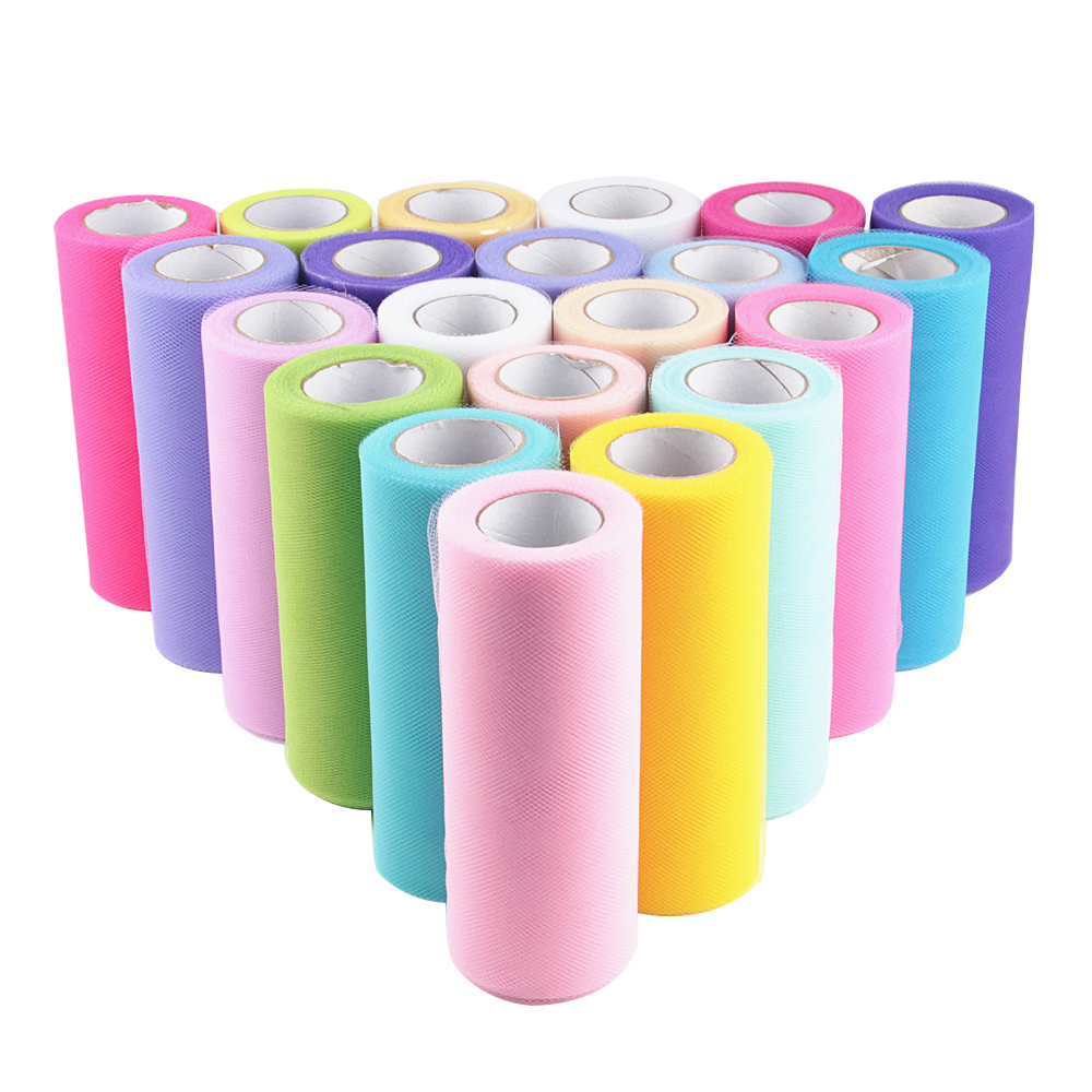 Tulle Roll 15cm 25Yards 5cm Roll Fabric Spool Tutu Party Birthday Gift Wrap Wedding Decoration Christmas Favors Event Supplies