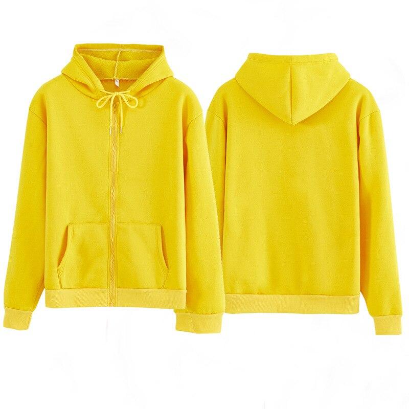 Women Sweatshirt Casual Solid Colors Oversized Full Zip-Up Hoodies Jacket 2020 Winter Velvet Thickening Warm Tops Long Sleeve 4