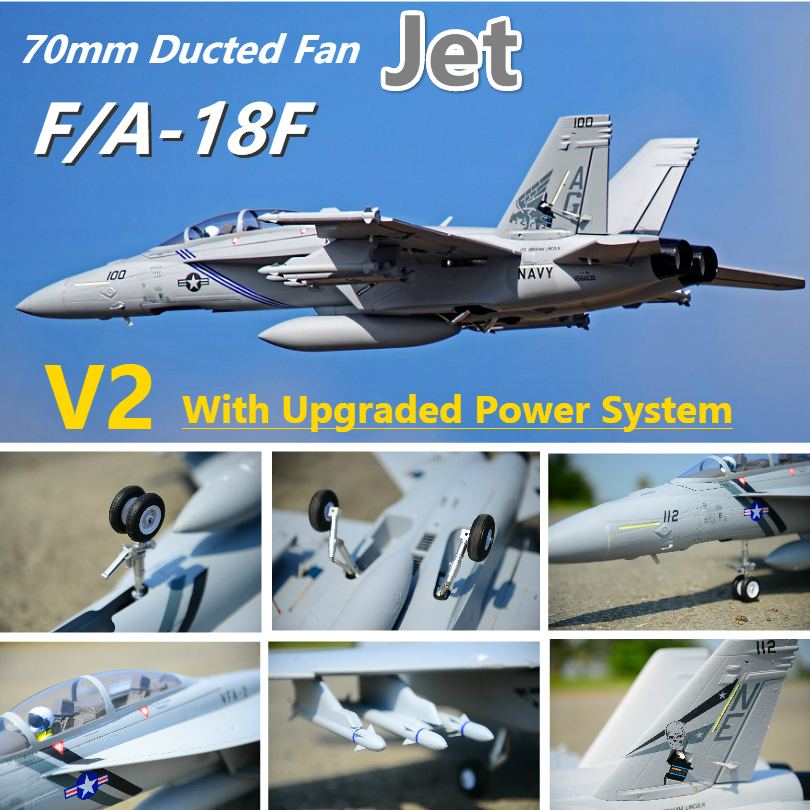 FMS RC Airplane F/A-18F <font><b>F18</b></font> Super Hornet V2 70mm Ducted Fan EDF Jet Big Scale Model Plane Aircraft PNP 6CH with Retracts Flaps image