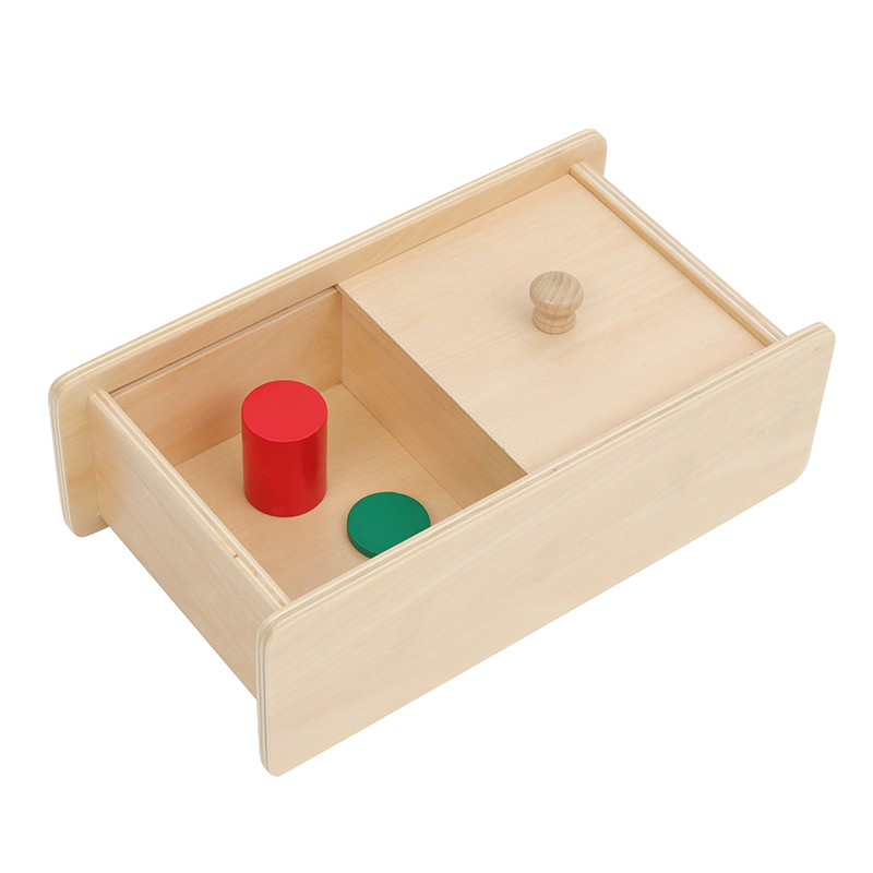 Box With Sliding Lid Montessori Infant Materials Wooden Toys For Toddler Hand-eye Coordination Exercises Early Development Toys