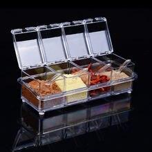 Набор кухонных пластиковых коробок для специй прозрачная банка