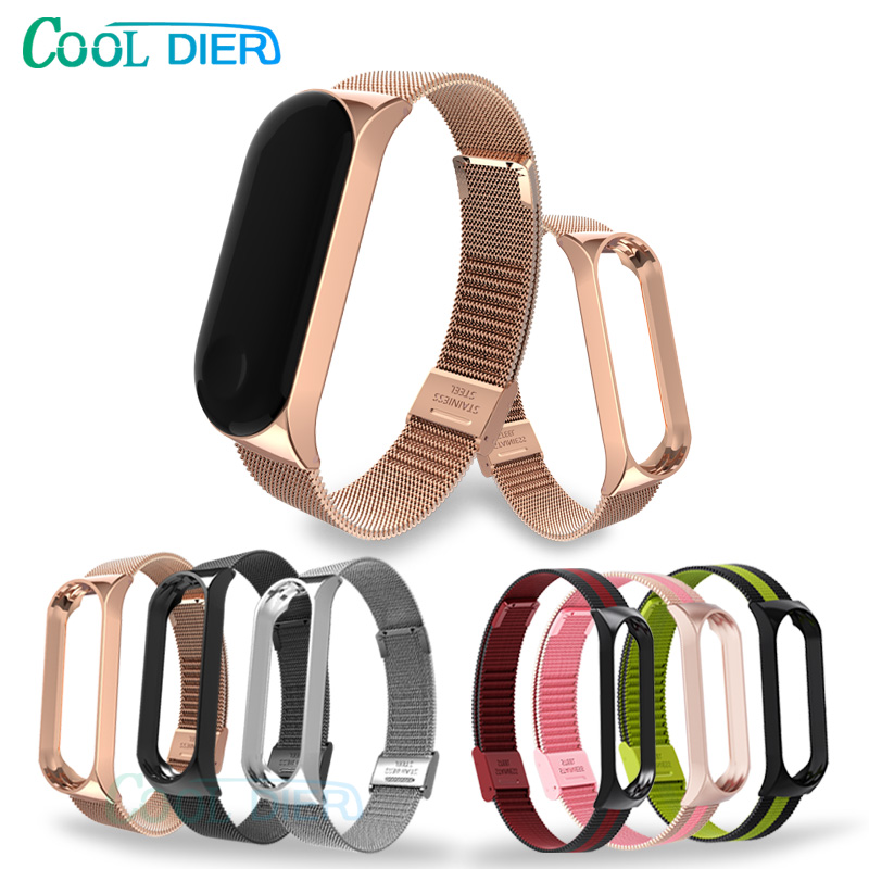 COOL DIER For Mi Band 4 3 Strap Metal Stainless Steel Smart Wrist Band Bracelet Strap For Xiaomi Mi Band 3 4 Replacement Strap