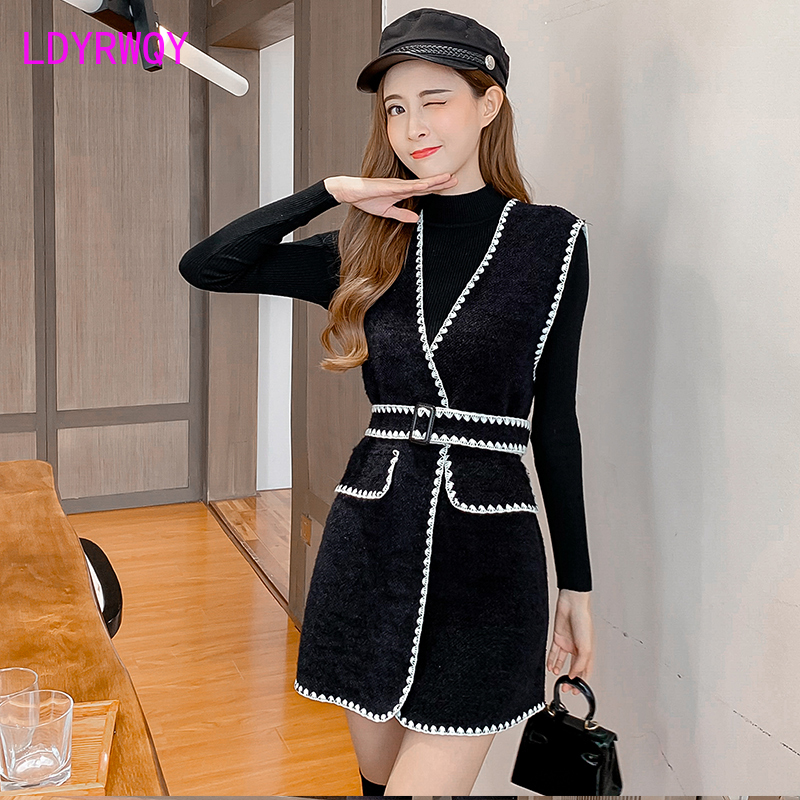 2019 Autumn And Winter Ladies Lace Wild Belt Belt Jacket + Bottoming Sweater V-Neck  Regular  Knee-Length  Sashes  Office Lady