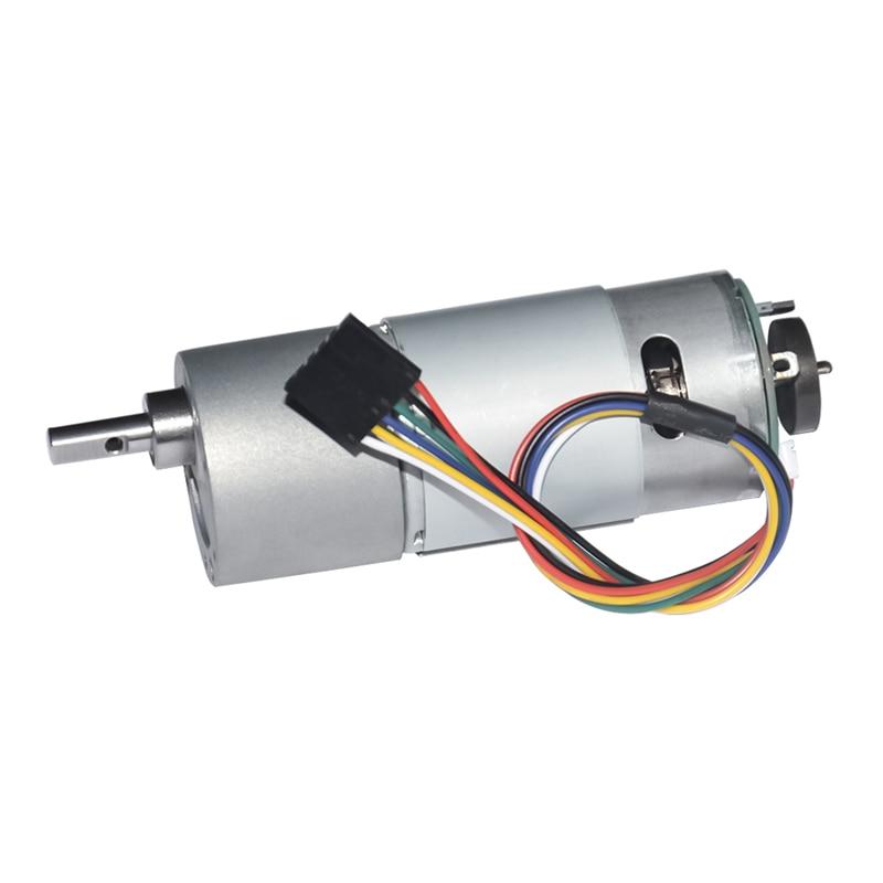 37GB555H DC Geared Motor with Hall Encoder 12V 24V 10~900rpm Speed Optional Dia 37mm Output Shaft 6mm for DIY Engine Robot