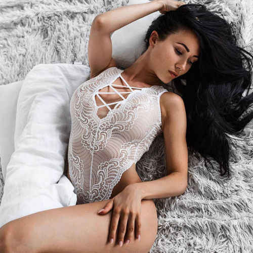 Seksowne białe koronkowe damskie body damskie dekolt w szpic bandaż Jumper Babydoll-bielizna nocna