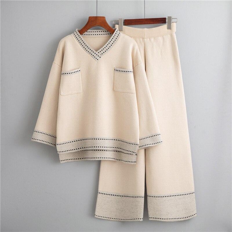 EINE Fee Weibliche Freizeit breitbeinig Hosen Anzug Neue Winter Westlichen Stil Mode Pullover Lose Web Promi Zwei-stück Outfit