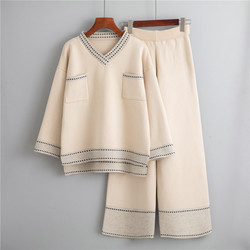 A Fairy Female Leisure Wide-legged Pants Suit New Winter Western Style Fashion Sweater Loose Web Celebrity Two-piece Outfit