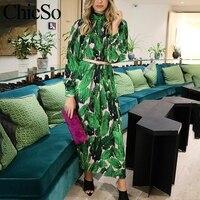 MissyChilli Pleated floral chiffon long sleeve dress Women elegant green midi dress festa Female spring summer party beach dress