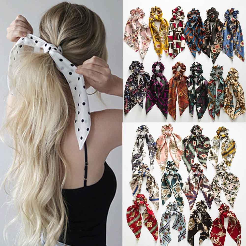 Chiffon Bowknot Silk Hair Scrunchies Women Pearls Elastic Hair Bands Ponytail Holder Scarf Rubber Hair Tie Rope Hair Accessories