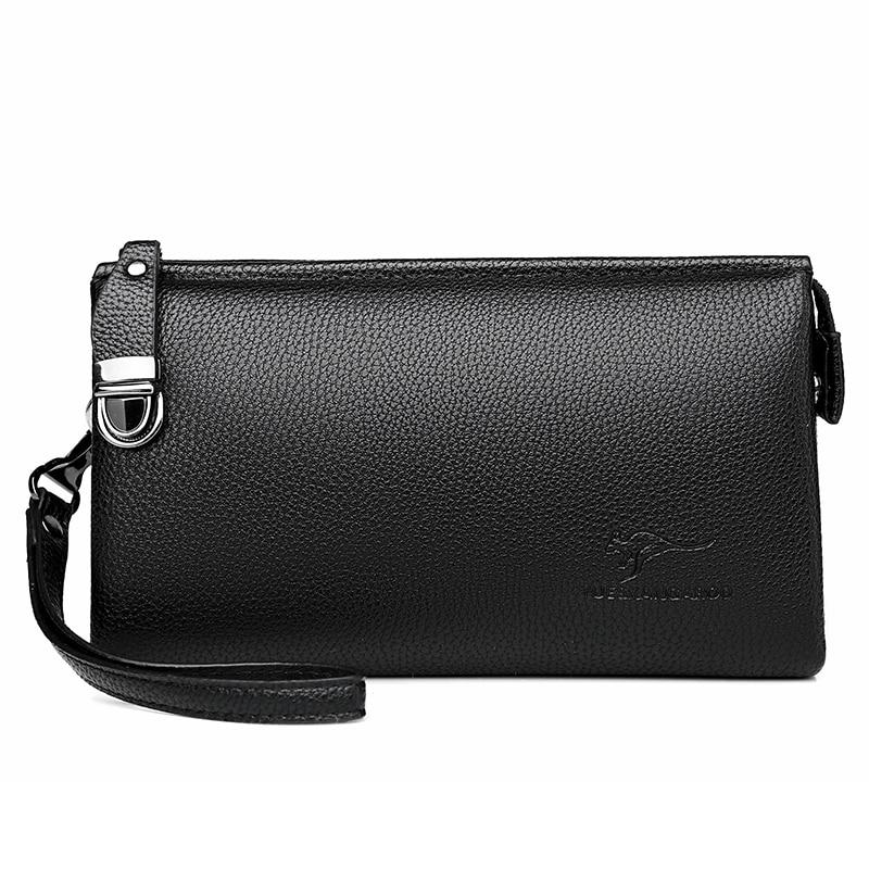 Роскошный брендовый кожаный мужской клатч, деловой Кошелек на запястье для телефона, Мужская Ручная сумка, черные коричневые длинные кошел...