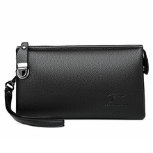 Luxury Brand Leather Men Clutch Bag Business Wristlet Phone Wallet Male Handy Bag Black Brown Long Purses Leather Clutch For Men