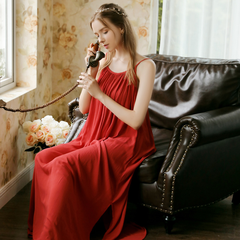 Image 5 - Women Spaghetti Strap Nightgown Wedding Birthday Solid Gown Pijamas Sexy Thin Summer Sleeveless Red Sleepwear Sleeping DressNightgowns & Sleepshirts   -