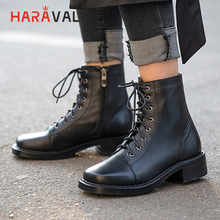 HARAVAL Winter Women Ankle Boots Luxury Genuine Leather Round Toe Thick Heel Shoes Black Zipper Lace-up Casual Martin Boots B221