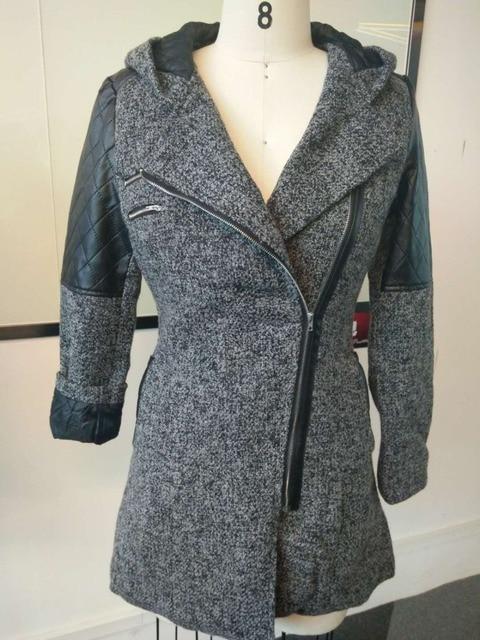 Women Winter Hooded Coat Autumn Zipper Slim Outerwear Spring Fashion Patchwork Black Female Warm Windproof Overcoats 4