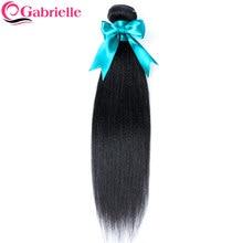 Gabrielle brasileño Yaki pelo recto mechones 1 pieza Color Natural 100% extensiones de cabello humano remy extensiones de pelo ondulado mechones