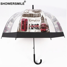 SHOWERSMILE British London Guard Transparent Umbrella Rain Women Automatic Clear  Long Handle Apollo Cage
