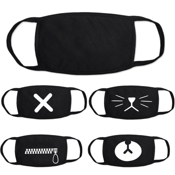 Unisex Black Face Mouth Mask Mouth-muffle Respirator Cartoon Kpop Cotton Masks Outdoor Health Care Masks Wholesale Drop Shipping
