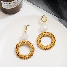 Акриловые серьги для женщин мамы висячие кольца соломенная плетеная