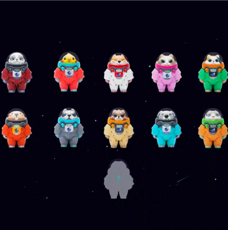 Image 2 - 10 pcs/set New Space Adventure Doll Blind Box Mini Animal Astronaut Figures Toys Set of 10 Action Figures Hand to Do OrnamentsAction & Toy Figures   -