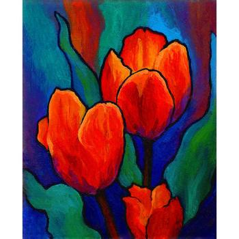 Canvas oil paintings Tulip Trio Abstract art flower Red Green painting for dining room bathroom wall decor Hand painted artwork