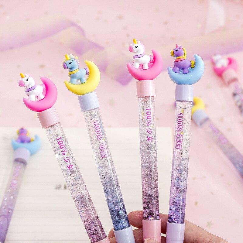 Kawaii Moon Unicorn Liquid Quicksand Gel Pen Neutral Pen Sequins Decorate Signature Pen School Office Supply Stationery Gift