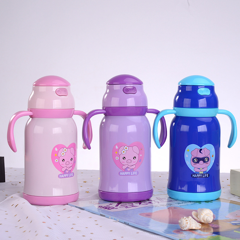 Piggy  New Style Dual Purpose Children Insulated Straw Cup Baby With Handle Changing Suspender Strap Stainless Steel Thermal Fee