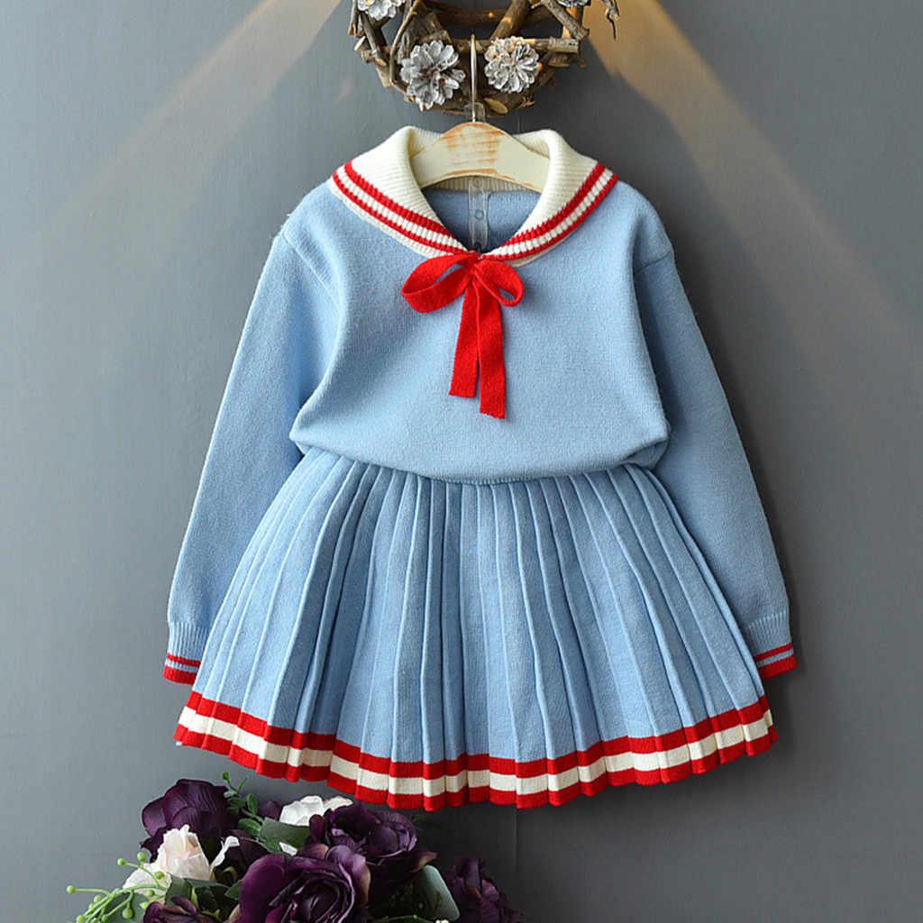 Спортивный костюм для малышей Детская одежда для девочек костюм принцессы с бантом; теплая вязанная Платья-свитеры комплект вязанные крючком топы с рюшами, 2 шт., комплект для девочек, комплект