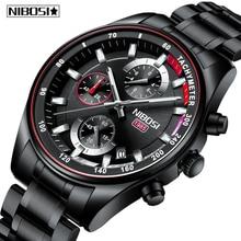 NIBOSI Mens Watches Top Brand Luxury Quartz Watch Military Chronograph Stainless Steel Male Clock Waterproof Relogio Masculino цена 2017