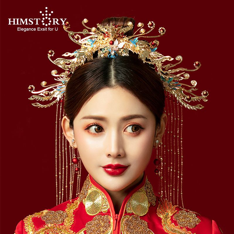 HIMSTORY Hair Crown Rocking-Suit Phoenix Bride Headdress Chinese Hair-Accessories Classical