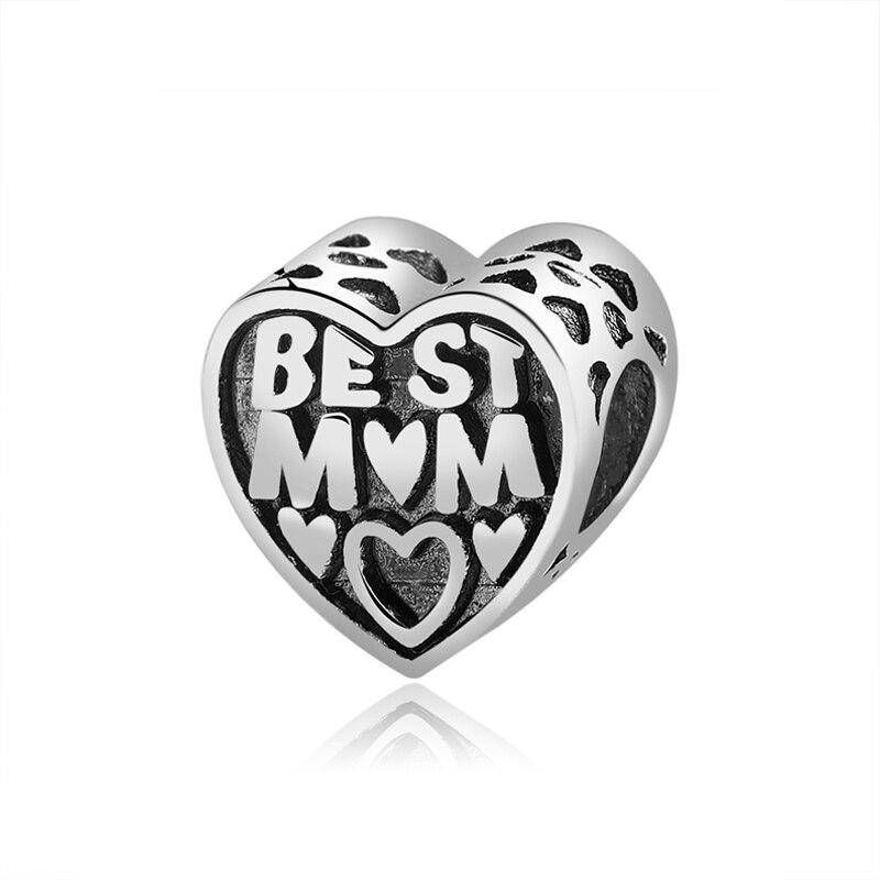 Новинка, сплав, бисерная подвеска в виде сердца для семьи, мамы, папы, любви, подходит для Пандоры, браслет, ожерелье, сделай сам, Женские Ювелирные изделия - Цвет: Best Mother