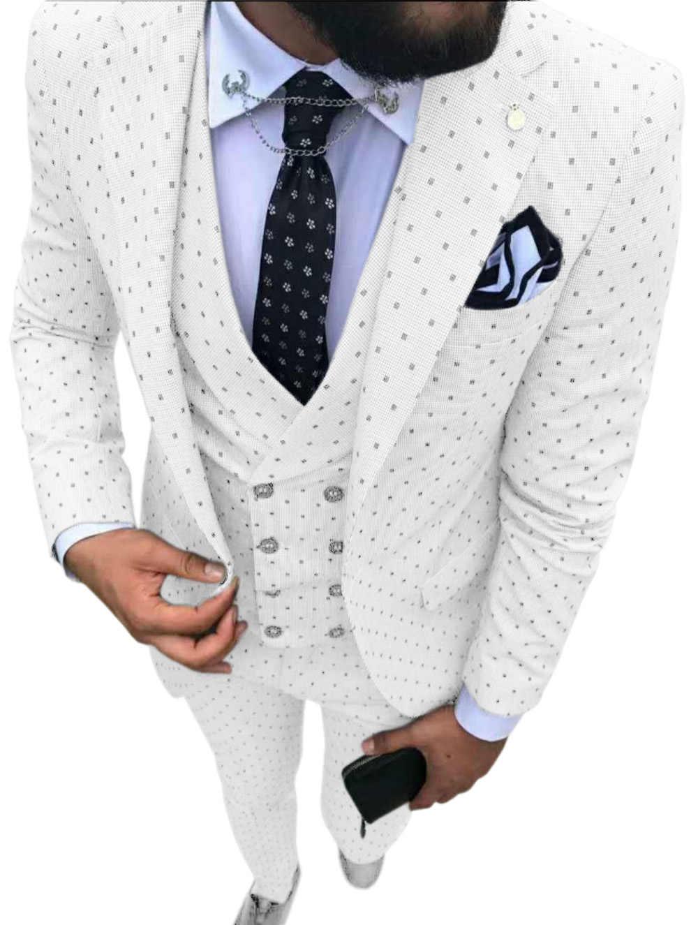 メンズスーツ波ポイント 3 個男性ドレススーツカジュアル通勤オフィスビジネス結婚式のためにスーツ (ブレザー + ベスト + パンツ)