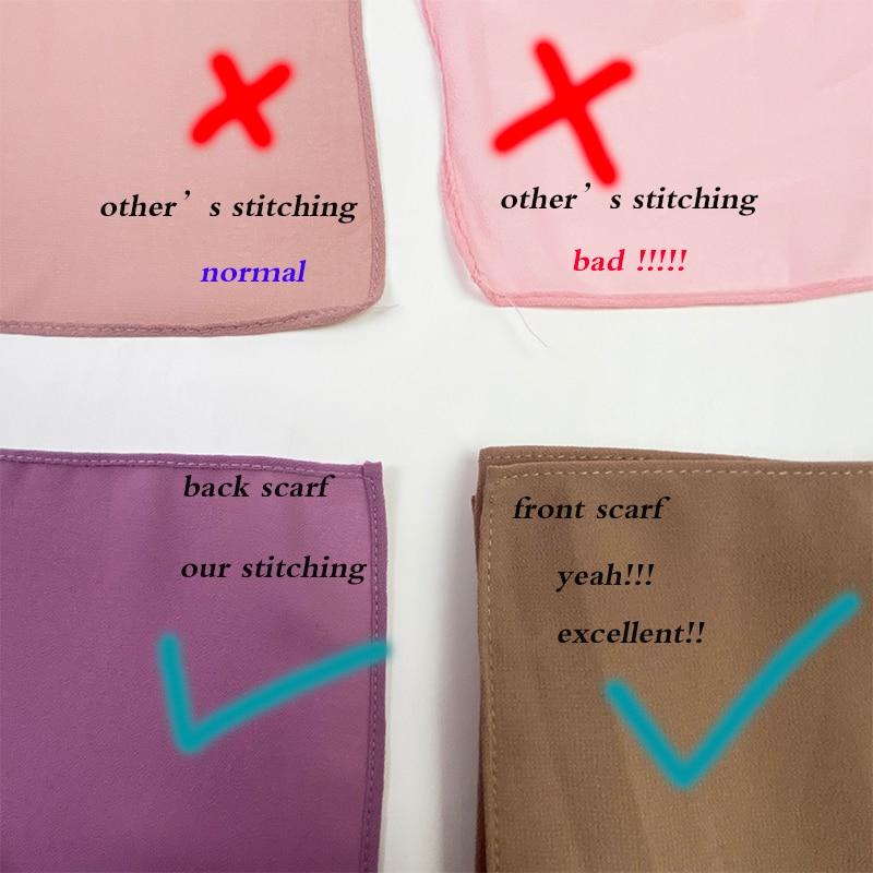 2M good stitching stitch plain high quality premium heavy Chiffon hijab scarf Malaysian Women s scarves