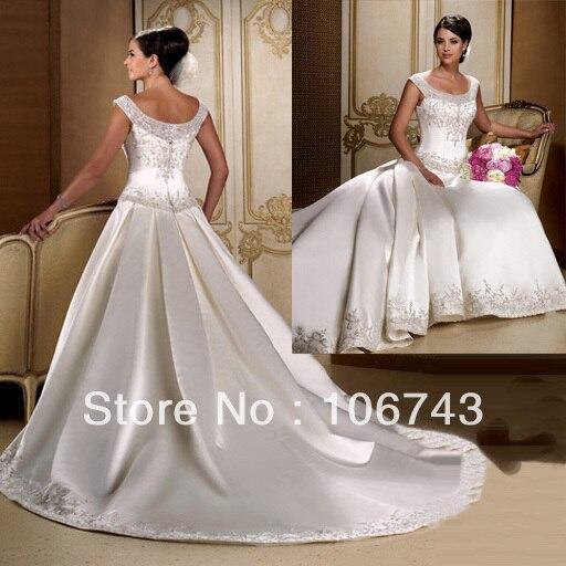 Women Patterns 2018 Back Long Charming Design A Line Embroidery Kristen Stewart Bridal Gown Vestido De Noiva Bridesmaid Dresses