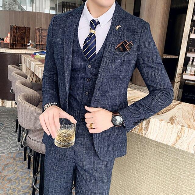 ( Jacket + Vest + Pants ) Boutique Fashion Mens Plaid Casual Business Suit High-end Social Formal Suit 3 Pcs Set Groom Wedding 4