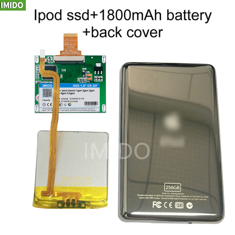 New SSD 128G 256G 512G For Ipod Classic 7Gen 7th 160GB Ipod Video 5th Replace MK3008GAH MK8010GAH MK1634GAL Ipod HDD Hard Disk
