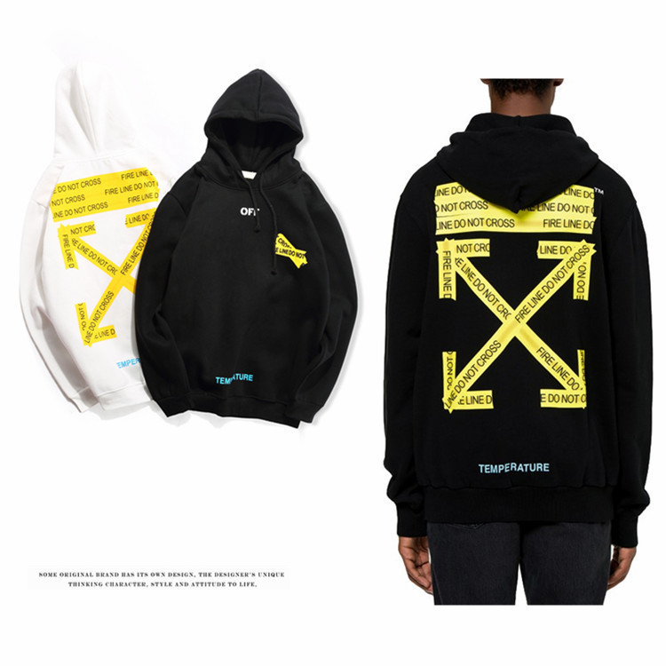Off 18ss New Style White Yellow Arrowhead Base Hoodie Ow Fashion Men And Women Couples Hoodie Coat