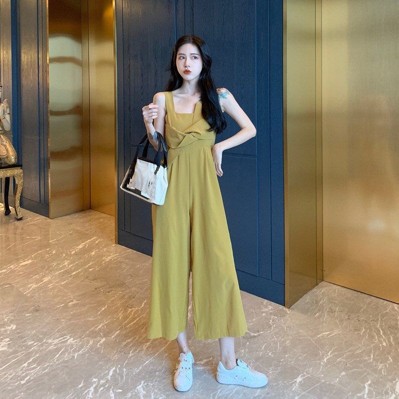 Nice Solid Strap Bow Empire Wide Leg Jumpsuit Women Sleeveless Pocket Summer  Rompers Casual Loose Overalls