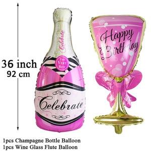 Image 2 - גדול שמפניה יין כוס ויסקי רדיד בלונים שמח מסיבת יום הולדת קישוט למבוגרים חתונה ספקי צד 18 21 25 30 40 50 60