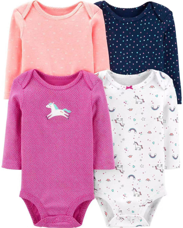4pcs Baby Bodysuit Clothes Set Long Sleeve Baby Girl Bodysuits Dinosaurs Pattern 100% Cotton 6-24m Newborn Boy Toddlers Clothing