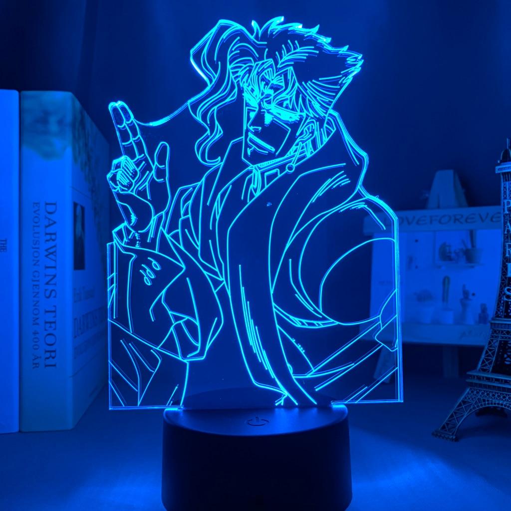 Hcc1e407d48b544d0b281a8080b09d036l Luminária Jojo's Bizarre Adventure noriaki kakyoin 3d luz anime para decoração do quarto luz presente de aniversário manga jojo figura acrílico noite lâmpada