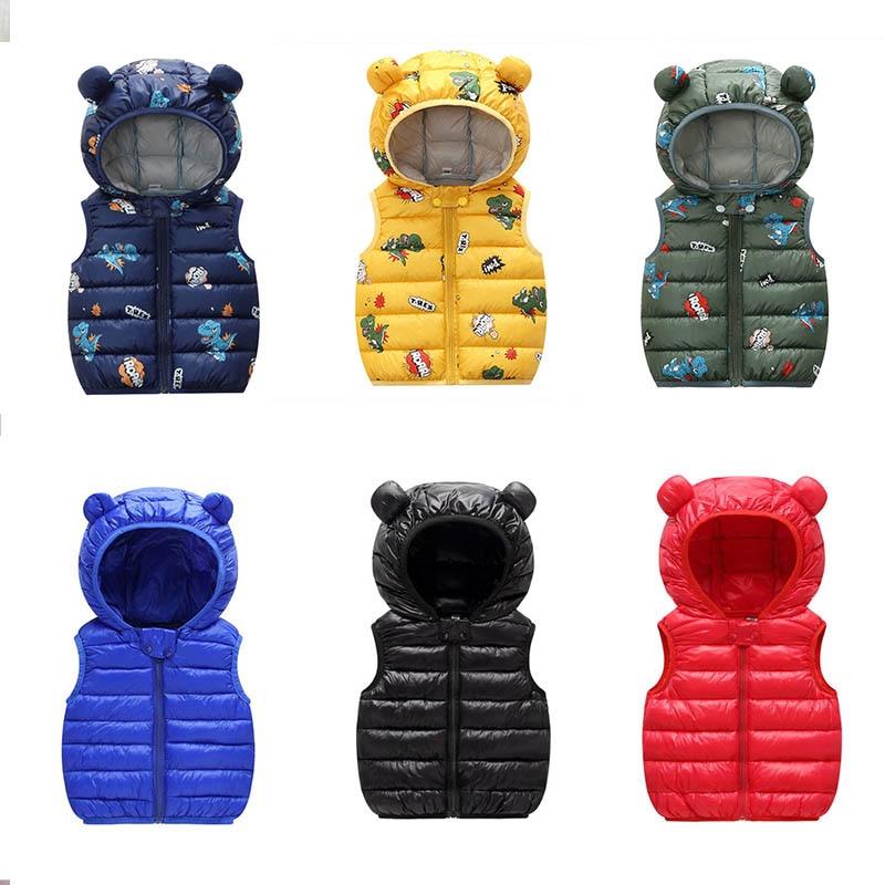 2020 Autumn Children Warm Down Vest Baby Cotton Waistcoat Kids Outerwear Vest Children Clothing Boys Girls Hooded Jackets Vest 1