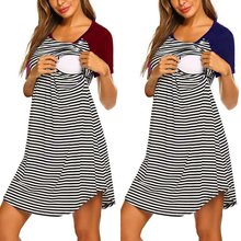 Striped Maternity Dresses Pregnancy Dress Summer Navy Blue Boat Neck Nursing Clothes For Pregnant Women Knee-Length S-2XL D30 2 style elegant tencel maternity dress pregnancy clothes for pregnant women fashion knee length blue fake two pieces mom costume