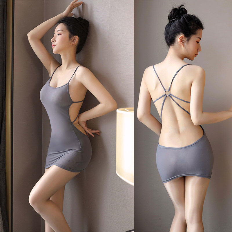 Sexy Women Stripe Bandage Micro Mini Dress Ice Silk Sheer Tight Pencil Cute Dress Bodycon Club Backless Mini Dress Candy Color