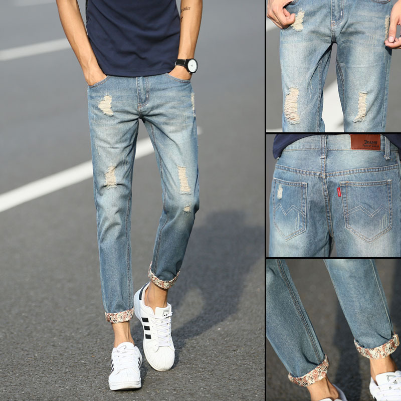 2019 Spring And Summer New Style Korean-style Capri Pants Men's With Holes Jeans Slim Fit Pants Versatile Pants Trend Ripped Jea