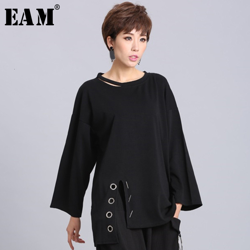 [EAM] 2020New Spring Summer  Black Full Sleeve O Collar Split Pullover Personality Women Fashion Tide Loose Casual T-shirt OA881