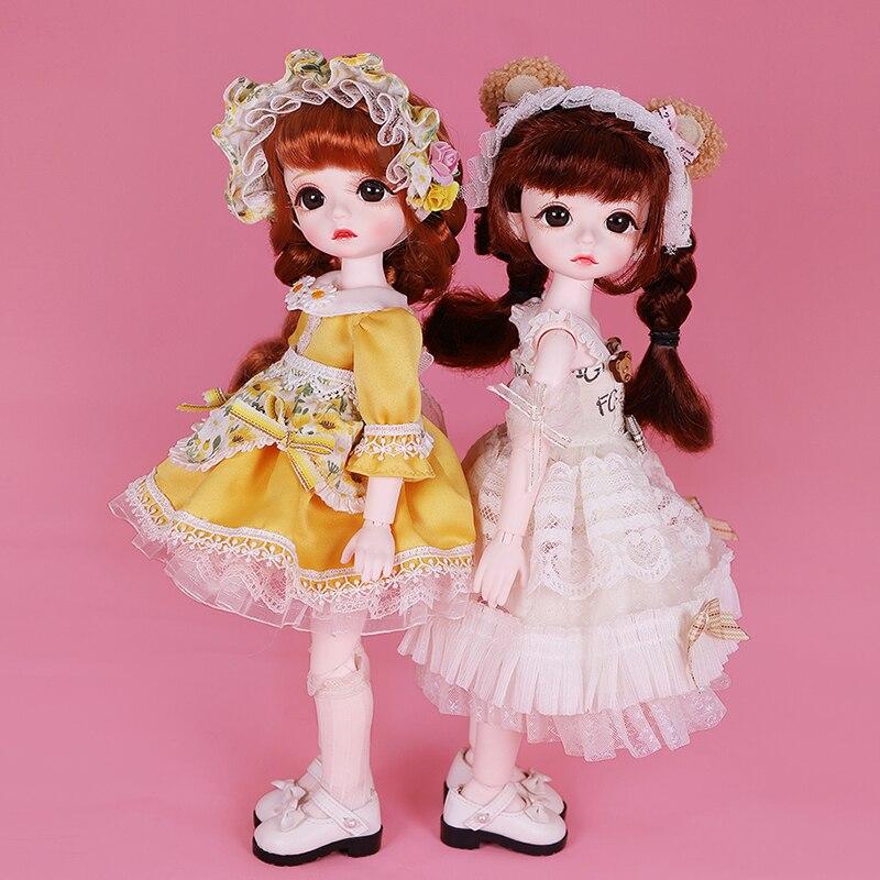 Sonho de fadas 1/6 bjd 28 articulações bonecas bjd com roupas sapatos estilo pastoral 28cm bola articulada boneca conjunto completo brinquedo diy presente para meninas