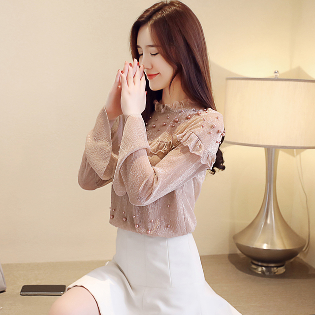 2021 spring elegant flare sleeve women's shirt blouse for women blusas womens tops and blouses chiffon shirts ladie's top 3